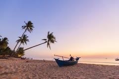 天堂海滩日落热带棕榈树 库存图片