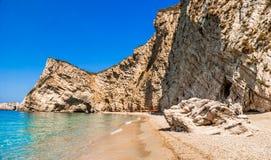 天堂海滩,科孚岛海岛,希腊 免版税库存图片