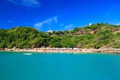 天堂海滩João费尔南迪尼奥, Búzios,巴西全景  图库摄影