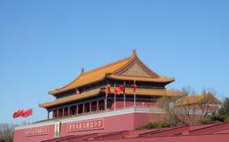 天堂般的和平门在著名天安门广场的在北京 免版税库存照片