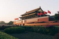 天堂般的和平Tienanmen门在北京,中国 库存照片