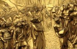 天堂著名的金门在佛罗伦萨,意大利洛伦佐・吉贝尔蒂 免版税库存照片