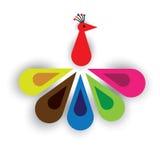 天堂鸟或孔雀五颜六色的羽毛  向量例证