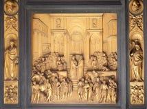 天堂Sheba的门,女王/王后和所罗门,佛罗伦萨大教堂洗礼池国王  图库摄影