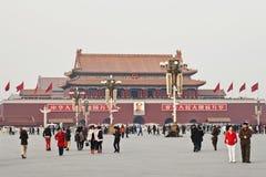 天安门广场的中国游人,北京,中国 免版税库存照片