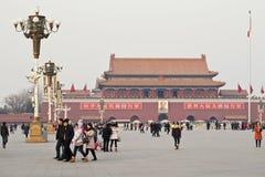 天安门广场的中国游人,北京,中国 免版税库存图片