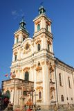 天意历史的教会Bielsko-BiaÅ '的a从18世纪 图库摄影