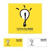 天才明亮的想法电灯泡商标 免版税库存图片