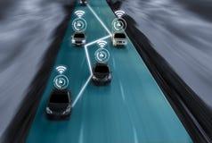 天才未来派路驾驶汽车,艺术的聪明的自已的 库存照片