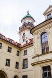 天文学塔在克莱门特学院Klementinum Klementinum 免版税库存照片
