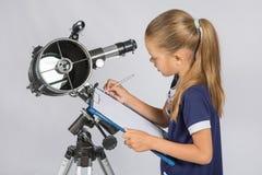 天文学家写观察 免版税库存图片