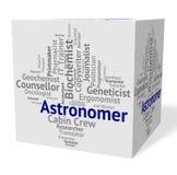 天文学家工作显示星凝视的人和天文学家 免版税图库摄影