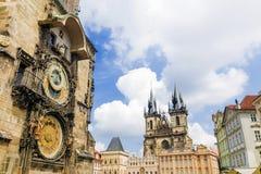 天文学时钟布拉格 cesky捷克krumlov中世纪老共和国城镇视图 免版税图库摄影