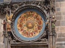 天文学时钟的日历板在布拉格,捷克 免版税库存图片