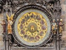 天文学时钟的日历的特写镜头在布拉格,捷克城镇厅的  免版税库存图片