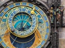 天文学时钟的特写镜头在布拉格,捷克城镇厅的  库存照片