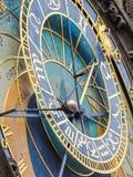 天文学时钟的特写镜头在布拉格,捷克城镇厅的  免版税库存照片