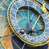 天文学时钟的特写镜头在布拉格,捷克城镇厅的  库存图片