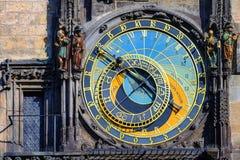 天文学时钟钟表在布拉格,捷克 库存照片