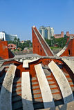 天文学观测所Jantar Mantar在德里 免版税库存照片