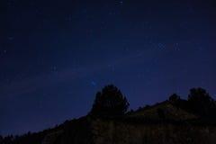 满天星斗的北天空在冬天 免版税库存图片