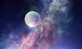 满天星斗的天空和月亮 混合画法 免版税库存图片