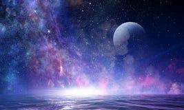 满天星斗的天空和月亮 混合画法 图库摄影