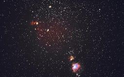满天星斗的天空和猎户星座星云 库存照片