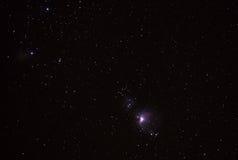 满天星斗的天空和猎户星座星云 免版税库存照片