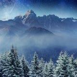 满天星斗的天空在冬天多雪的夜 喀尔巴汗,乌克兰,欧洲 免版税图库摄影