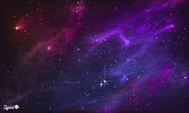 满天星斗的星云 五颜六色的外层空间背景 也corel凹道例证向量 向量例证
