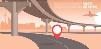 天桥或桥梁,在城市道路向机场都市风景郊区或都市凉快的横幅或海报例证 皇族释放例证
