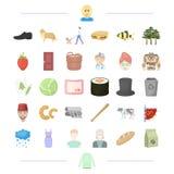 天气、垃圾、动物和其他网象在动画片样式 北欧海盗,出现,菜,在集合的旅行象 库存图片