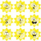 天气动画片太阳设置了005 库存例证