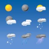天气图标的收集 免版税库存照片