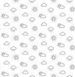 天气太阳覆盖无缝的样式 免版税库存图片