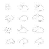 天气象被设置的概述 免版税库存照片