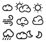 天气预报在lineart样式的象汇集的被隔绝的黑白色素 免版税库存图片