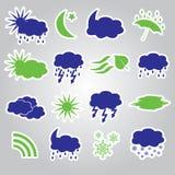 天气贴纸象设置了eps10 图库摄影