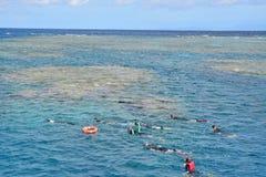 天潜航与充分的齿轮的旅行游人在海斯廷斯礁石 库存照片