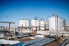 天然气产业冬天 免版税库存照片