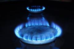 天然气火在黑暗的 库存图片