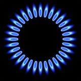 天然气火焰 煤气炉燃烧器 免版税库存照片