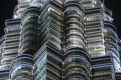 天然碱双塔,吉隆坡,马来西亚细节  免版税库存图片
