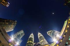 天然碱双塔,吉隆坡 库存照片