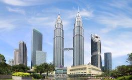 天然碱耸立孪生 吉隆坡,马来西亚 库存图片