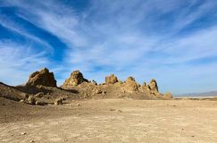 天然碱pinacles,离死亡谷国家公园不远 图库摄影