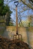 天然肥料从事园艺的干草叉 免版税库存图片