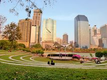 天生活在Benjasiri公园,曼谷 免版税库存图片