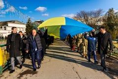 天的庆祝乌克兰的团结在Uzhgorod乌克兰 免版税库存照片